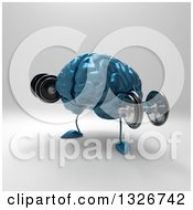 Clipart Of A 3d Blue Brain Character Working Out With Dumbbells 2 Royalty Free Illustration