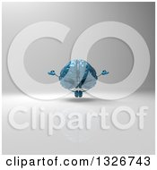 Clipart Of A 3d Blue Brain Character Meditating On Gray Royalty Free Illustration