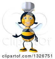 Clipart Of A 3d Female Chef Bee Presenting Royalty Free Illustration