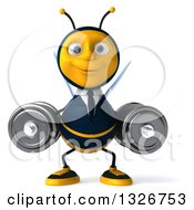 Clipart Of A 3d Happy Business Bee Working Out With Dumbbells Royalty Free Illustration by Julos