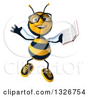 Clipart Of A 3d Happy Bespectacled Business Bee Jumping And Holding A Book Royalty Free Illustration by Julos