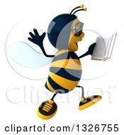 Clipart Of A 3d Happy Bespectacled Business Bee Facing Right Jumping And Holding A Book Royalty Free Illustration by Julos