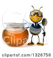 Clipart Of A 3d Happy Bespectacled Business Bee Holding A Dipper By A Honey Jar Royalty Free Illustration by Julos