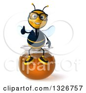 Clipart Of A 3d Happy Bespectacled Business Bee Giving A Thumb Up And Sitting On A Honey Jar Royalty Free Illustration by Julos