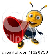 Clipart Of A 3d Happy Business Bee Announcing Upwards With A Megaphone Royalty Free Illustration by Julos