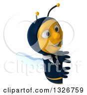 Clipart Of A 3d Happy Business Bee Looking Around A Sign Royalty Free Illustration by Julos