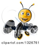 Clipart Of A 3d Happy Business Bee Working Out Looking Up Doing Bicep Curls With Dumbbells Royalty Free Illustration by Julos