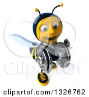 Clipart Of A 3d Happy Business Bee Working Out Facing Slightly Right Doing Bicep Curls With Dumbbells Royalty Free Illustration by Julos