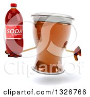 Clipart Of A 3d Beer Mug Character Holding A Thumb Down And A Soda Bottle Royalty Free Illustration