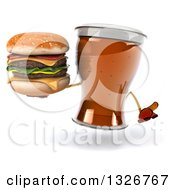 Clipart Of A 3d Beer Mug Character Shrugging And Holding A Double Cheeseburger Royalty Free Illustration