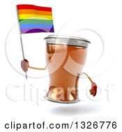 Clipart Of A 3d Beer Mug Character Holding A Rainbow Flag Flag Royalty Free Illustration