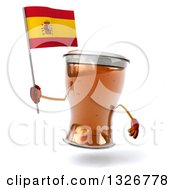 Clipart Of A 3d Beer Mug Character Holding A Spanish Flag Royalty Free Illustration