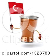 Clipart Of A 3d Beer Mug Character Holding A Turkish Flag Royalty Free Illustration