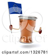 Clipart Of A 3d Beer Mug Character Giving A Thumb Up And Holding A European Flag Royalty Free Illustration