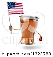 Clipart Of A 3d Beer Mug Character Holding An American Flag Royalty Free Illustration