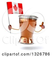 Clipart Of A 3d Beer Mug Character Holding Up A Finger And A Canadian Flag Royalty Free Illustration