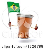 Clipart Of A 3d Beer Mug Character Giving A Thumb Up And Holding A Brazilian Flag Royalty Free Illustration
