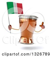 Clipart Of A 3d Beer Mug Character Holding Up A Finger And An Italian Flag Royalty Free Illustration
