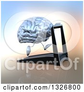 Clipart Of A 3d Chrome Brain Character Running On A Treadmill Royalty Free Illustration by Julos