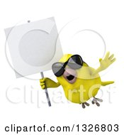 Clipart Of A 3d Yellow Bird Wearing Sunglasses And Flying To The Left With A Blank Sign Royalty Free Illustration