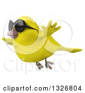 Clipart Of A 3d Yellow Bird Wearing Sunglasses And Flying To The Left Royalty Free Illustration