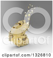 Clipart Of A 3d Gold Crumbling Euro Currency Symbol Over Gradient Gray Royalty Free Illustration