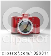 Clipart Of A 3d Red DSLR Camera On Gray Royalty Free Illustration