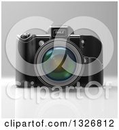 Clipart Of A 3d Black DSLR Camera On Gray Royalty Free Illustration