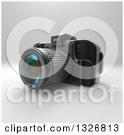 Clipart Of A 3d Black DSLR Camera On Gray 2 Royalty Free Illustration