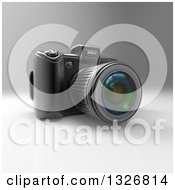 Clipart Of A 3d Black DSLR Camera On Gray 3 Royalty Free Illustration