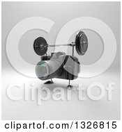 Clipart Of A 3d Black DSLR Camera Character Working Out With A Barbell Over Gray 5 Royalty Free Illustration by Julos