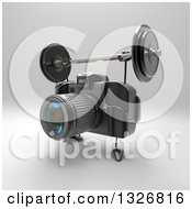 Clipart Of A 3d Black DSLR Camera Character Working Out With A Barbell Over Gray 3 Royalty Free Illustration by Julos