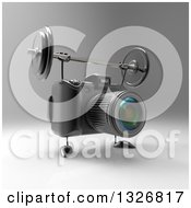 Clipart Of A 3d Black DSLR Camera Character Working Out With A Barbell Over Gray 4 Royalty Free Illustration by Julos