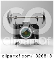 Clipart Of A 3d Black DSLR Camera Character Working Out With A Barbell Over Gray Royalty Free Illustration by Julos