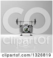 Clipart Of A 3d Black DSLR Camera Character Working Out With A Barbell Over Gray 2 Royalty Free Illustration by Julos