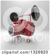 Clipart Of A 3d Red DSLR Camera Character Working Out With A Barbell On Gray 2 Royalty Free Illustration by Julos