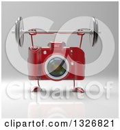 Clipart Of A 3d Red DSLR Camera Character Working Out With A Barbell On Gray Royalty Free Illustration by Julos