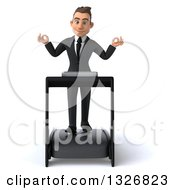 Clipart Of A 3d Happy Young White Businessman Meditating And Walking On A Treadmill Royalty Free Illustration