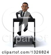 Clipart Of A 3d Happy Young Black Businessman Sprinting On A Treadmill Royalty Free Illustration