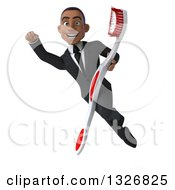 Clipart Of A 3d Happy Young Black Businessman Flying And Holding A Toothbrush 2 Royalty Free Illustration