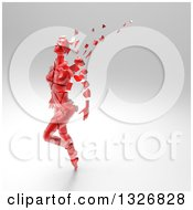 Clipart Of A 3d Crumbling Red Woman Over Gray Shading 2 Royalty Free Illustration