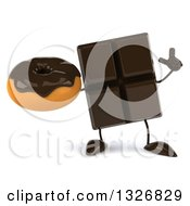 Clipart Of A 3d Chocolate Candy Bar Character Holding Up A Finger And A Donut Royalty Free Illustration by Julos