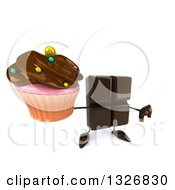 Clipart Of A 3d Chocolate Candy Bar Character Holding Up A Thumb Down And A Cupcake Royalty Free Illustration by Julos