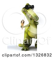 Clipart Of A 3d Full Length Green Dinosaur Wearing Sunglasses And Holding A Waffle Ice Cream Cone Around A Sign Royalty Free Illustration