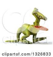 Clipart Of A 3d Green Dinosaur Walking To The Right With A Pizza Royalty Free Illustration