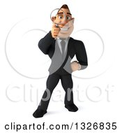 Clipart Of A 3d Macho White Businessman Searching With A Magnifying Glass Royalty Free Illustration
