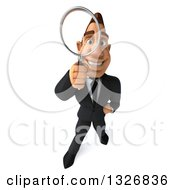 Clipart Of A 3d Macho White Businessman Looking Up And Searching With A Magnifying Glass Royalty Free Illustration