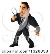 Clipart Of A 3d Macho White Businessman Facing Left Searching With A Magnifying Glass Royalty Free Illustration by Julos
