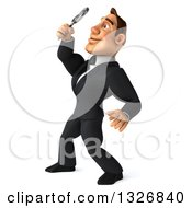 Clipart Of A 3d Macho White Businessman Facing Left Looking Up Searching With A Magnifying Glass Royalty Free Illustration by Julos