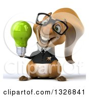 Clipart Of A 3d Bespectacled Business Squirrel Holding A Green Light Bulb Royalty Free Illustration